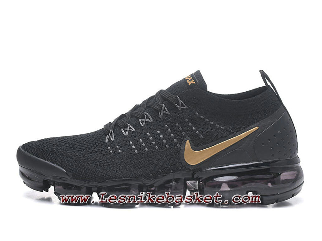 Nike Air VaporMax Flyknit noires Or 942842 ID8 Chaussure